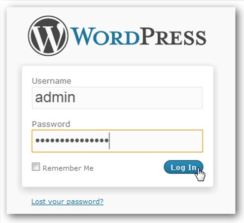 WordPress login admin
