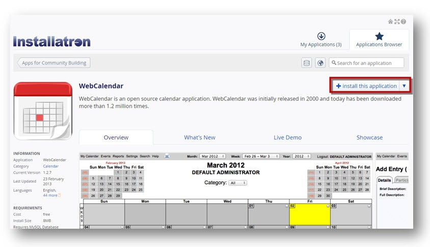 Installatron WebCalendar Application