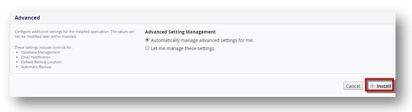 Installatron advanced settings