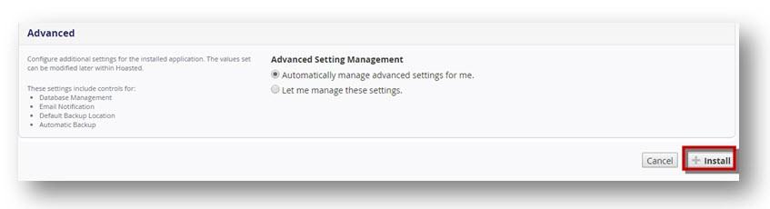 Installatron advanced settings