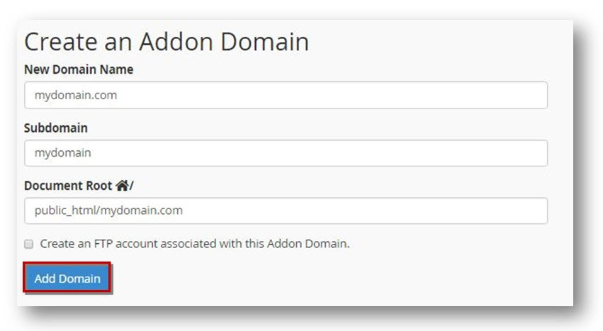 create an addon domain cpanel