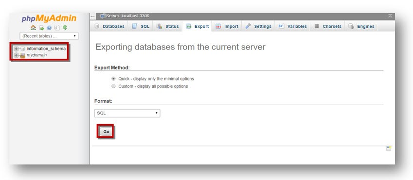 phpMyAdmin Databases page