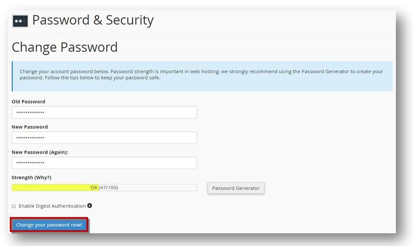 Cpanel change password