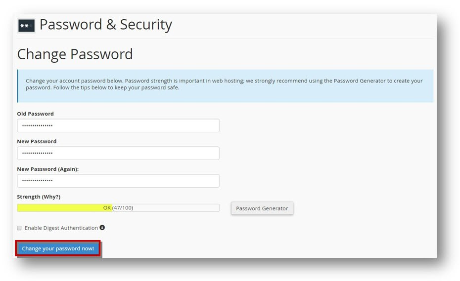 Cpanel password settings