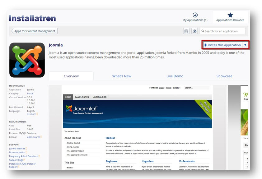 Installatron for Joomla