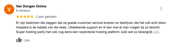 Hoasted Google review